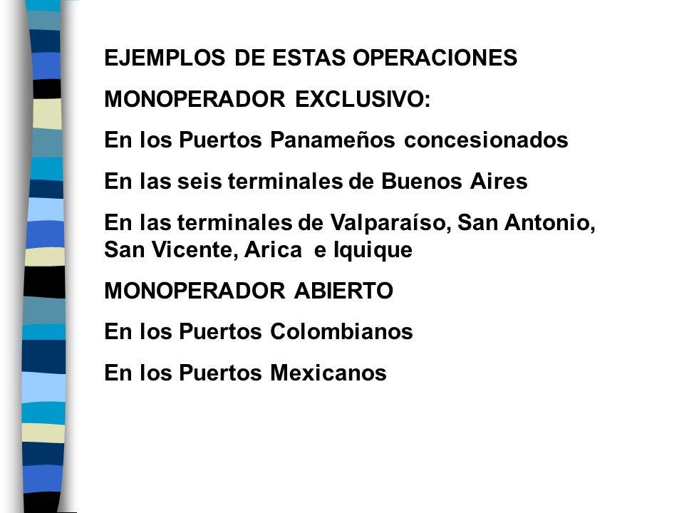 EJEMPLOS DE ESTAS OPERACIONES MONOPERADOR EXCLUSIVO: En los Puertos Panameños concesionados En las seis terminales de Buenos Aires En las terminales d
