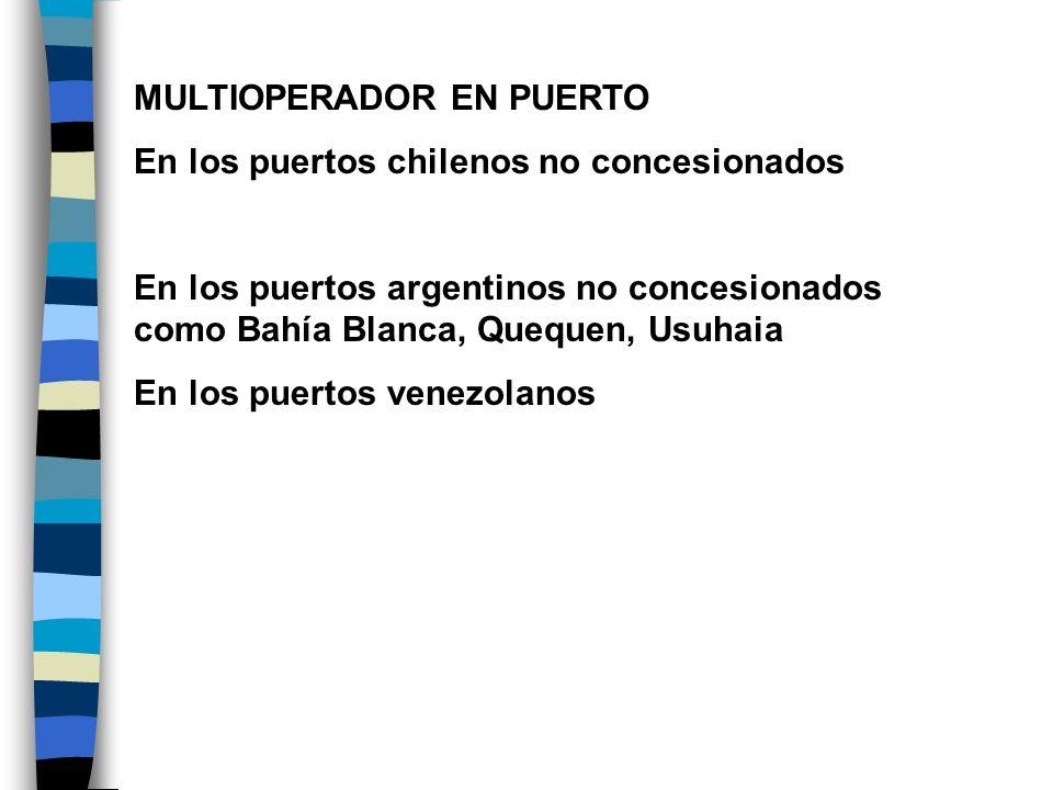MULTIOPERADOR EN TERMINALES En los terminales públicos de los puertos chilenos concesionados En próxima etapa: Espigón en SAI y Valparaíso En los terminales especializados de puertos venezolanos En los terminales especializados de Callao