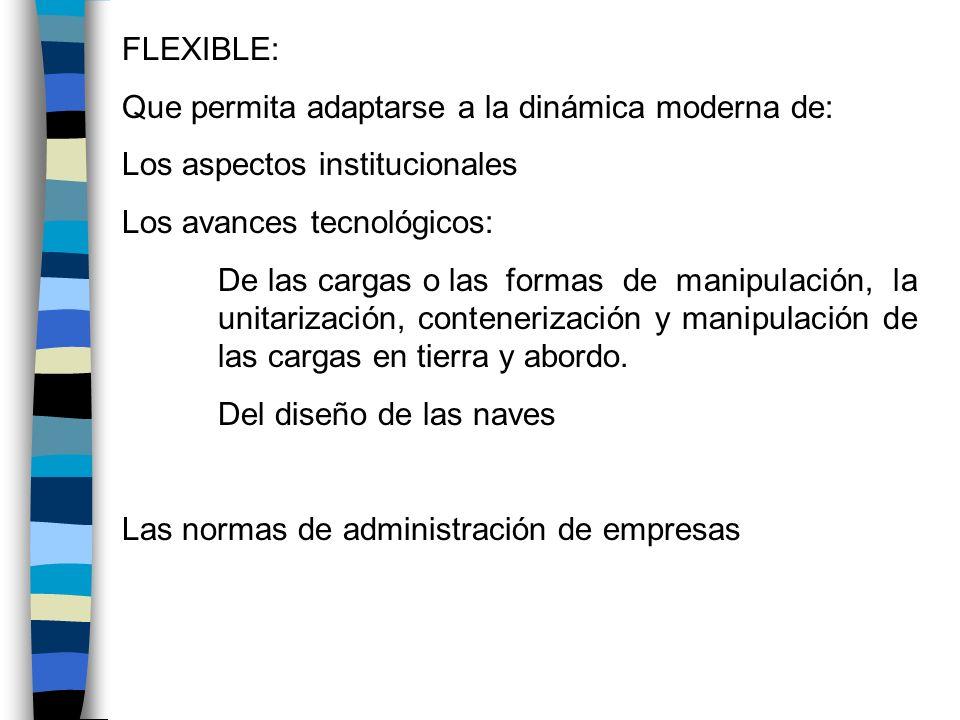 FLEXIBLE: Que permita adaptarse a la dinámica moderna de: Los aspectos institucionales Los avances tecnológicos: De las cargas o las formas de manipul