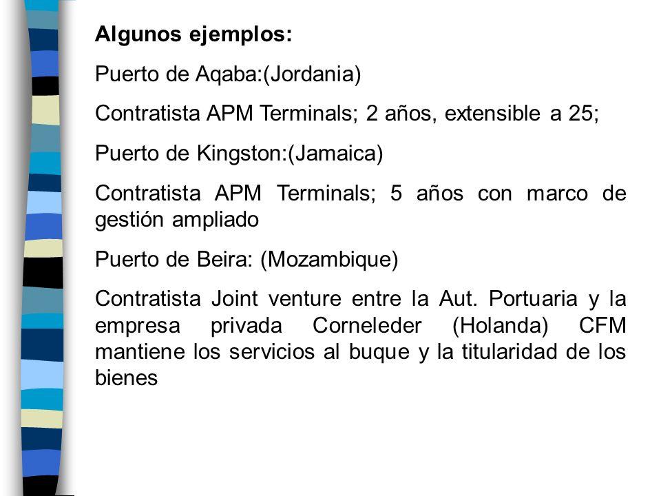 Algunos ejemplos: Puerto de Aqaba:(Jordania) Contratista APM Terminals; 2 años, extensible a 25; Puerto de Kingston:(Jamaica) Contratista APM Terminal