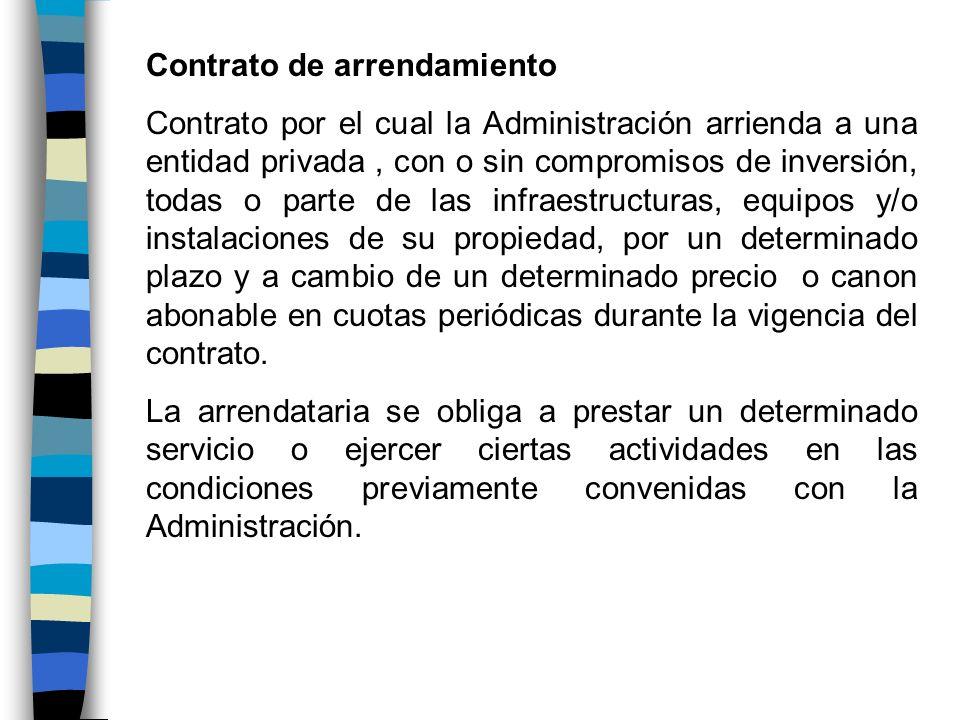 Contrato de arrendamiento Contrato por el cual la Administración arrienda a una entidad privada, con o sin compromisos de inversión, todas o parte de