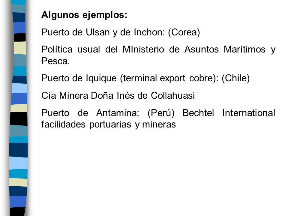 Algunos ejemplos: Puerto de Ulsan y de Inchon: (Corea) Política usual del MInisterio de Asuntos Marítimos y Pesca. Puerto de Iquique (terminal export