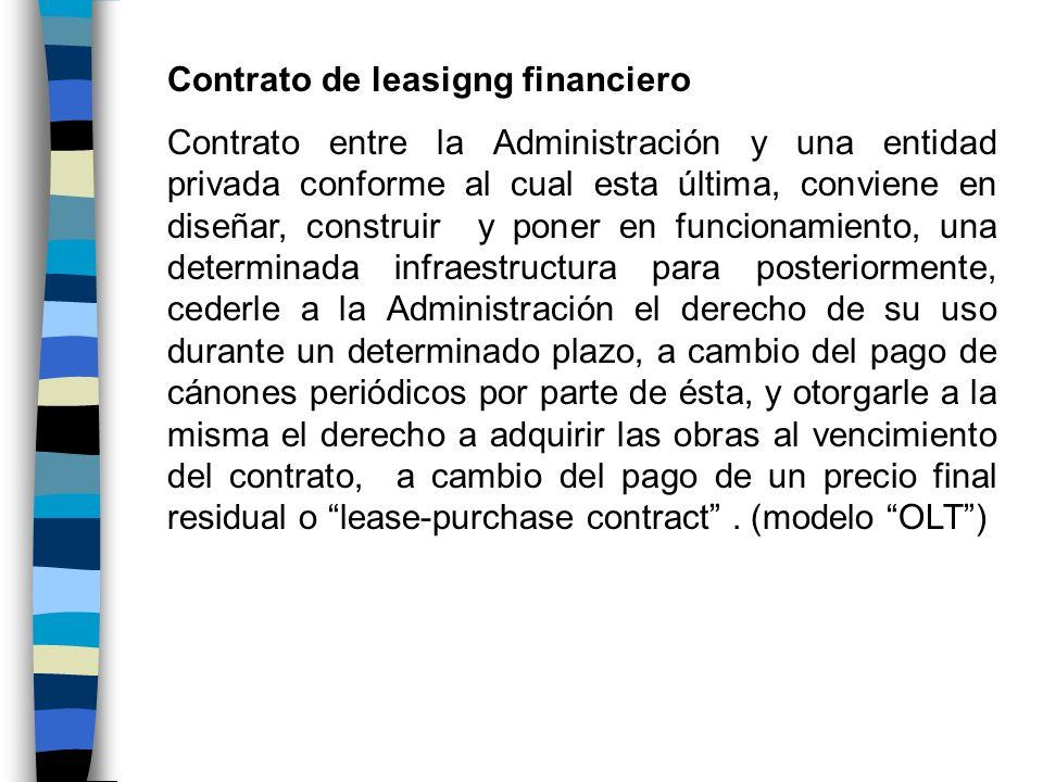 Contrato de leasigng financiero Contrato entre la Administración y una entidad privada conforme al cual esta última, conviene en diseñar, construir y