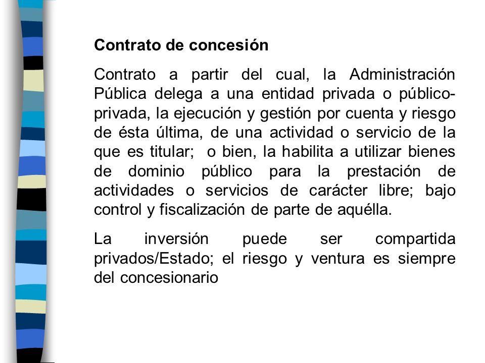 Contrato de concesión Contrato a partir del cual, la Administración Pública delega a una entidad privada o público- privada, la ejecución y gestión po