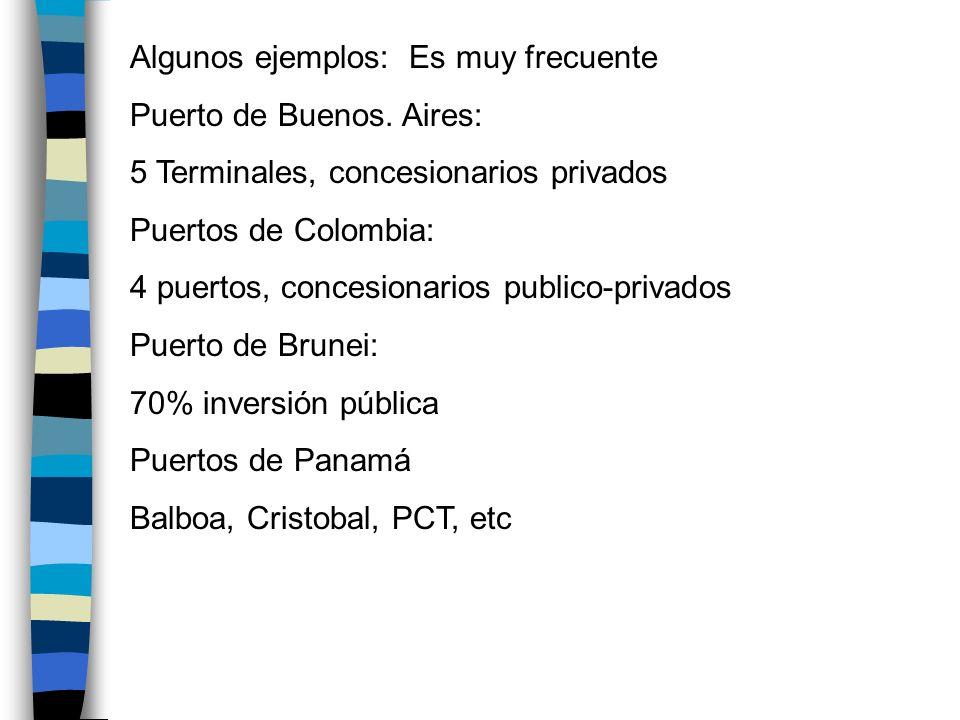 Algunos ejemplos: Es muy frecuente Puerto de Buenos. Aires: 5 Terminales, concesionarios privados Puertos de Colombia: 4 puertos, concesionarios publi