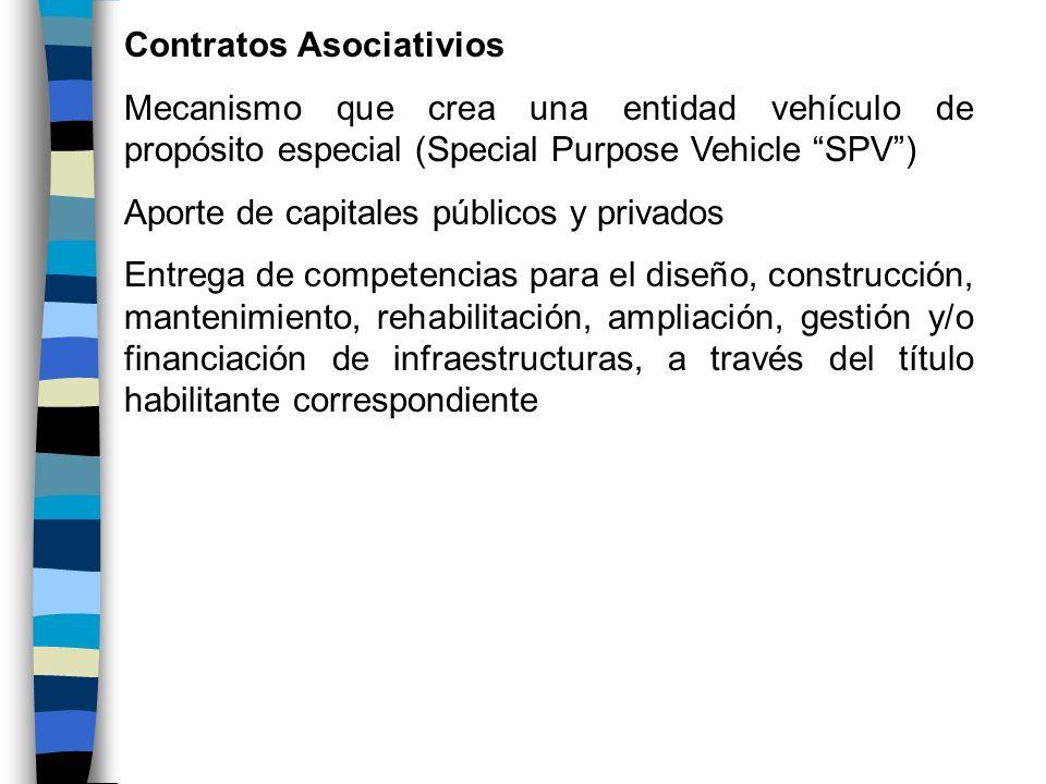 Contratos Asociativios Mecanismo que crea una entidad vehículo de propósito especial (Special Purpose Vehicle SPV) Aporte de capitales públicos y priv