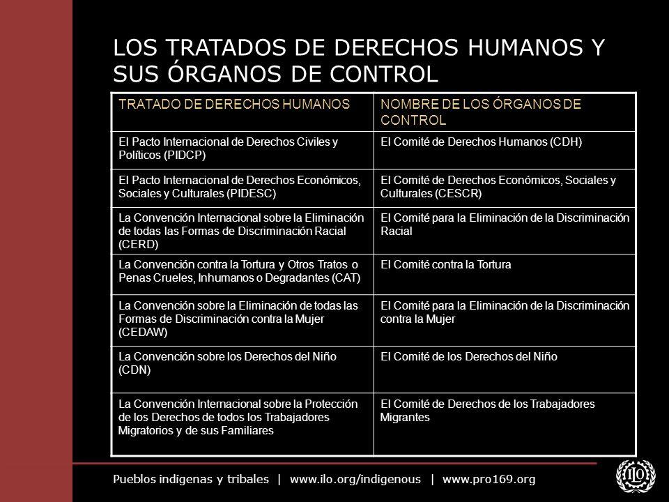 Pueblos indígenas y tribales | www.ilo.org/indigenous | www.pro169.org LOS TRATADOS DE DERECHOS HUMANOS Y SUS ÓRGANOS DE CONTROL TRATADO DE DERECHOS H