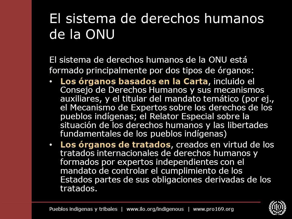 Pueblos indígenas y tribales | www.ilo.org/indigenous | www.pro169.org El sistema de derechos humanos de la ONU El sistema de derechos humanos de la O
