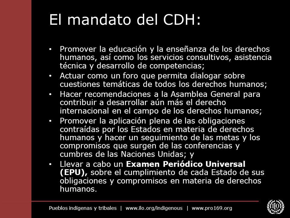 Pueblos indígenas y tribales | www.ilo.org/indigenous | www.pro169.org El mandato del CDH: Promover la educación y la enseñanza de los derechos humano