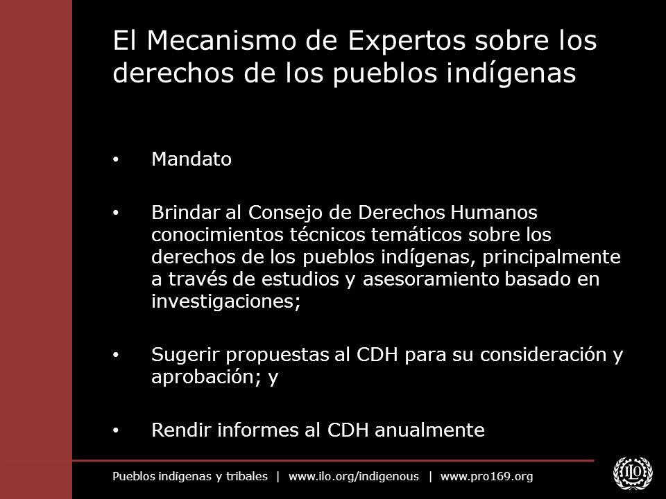 Pueblos indígenas y tribales | www.ilo.org/indigenous | www.pro169.org El Mecanismo de Expertos sobre los derechos de los pueblos indígenas Mandato Br