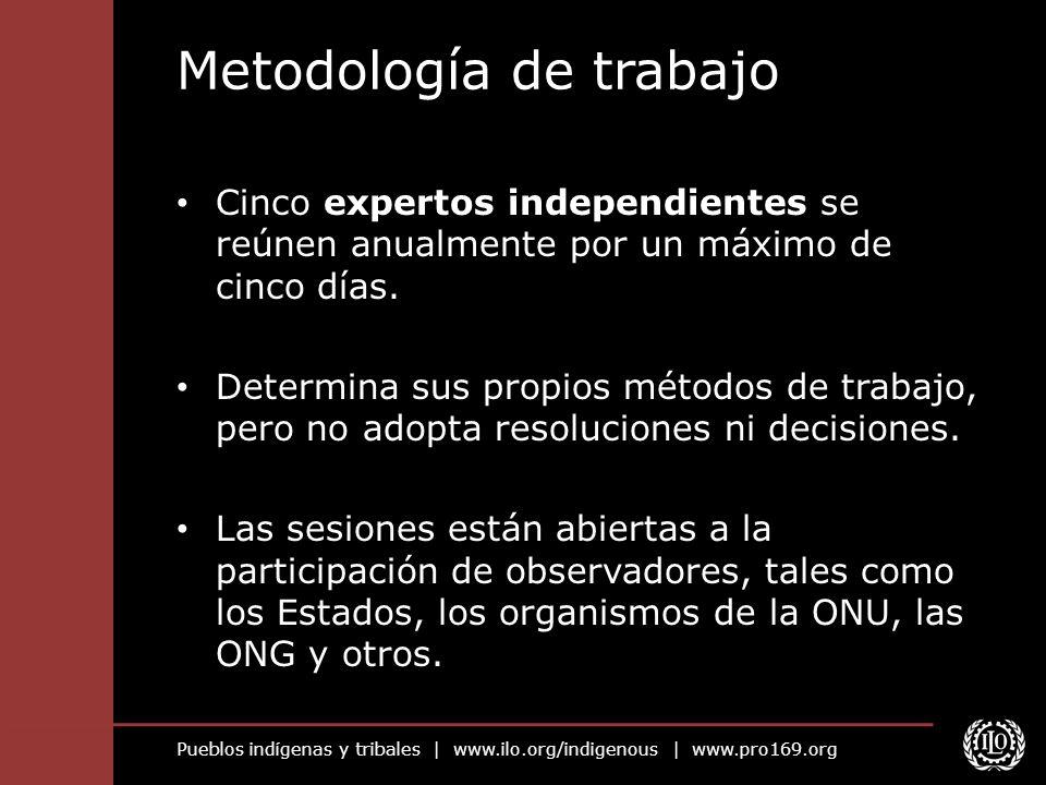 Pueblos indígenas y tribales | www.ilo.org/indigenous | www.pro169.org Metodología de trabajo Cinco expertos independientes se reúnen anualmente por u