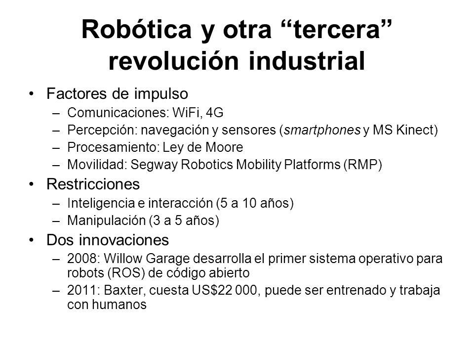 Robótica y otra tercera revolución industrial Factores de impulso –Comunicaciones: WiFi, 4G –Percepción: navegación y sensores (smartphones y MS Kinec