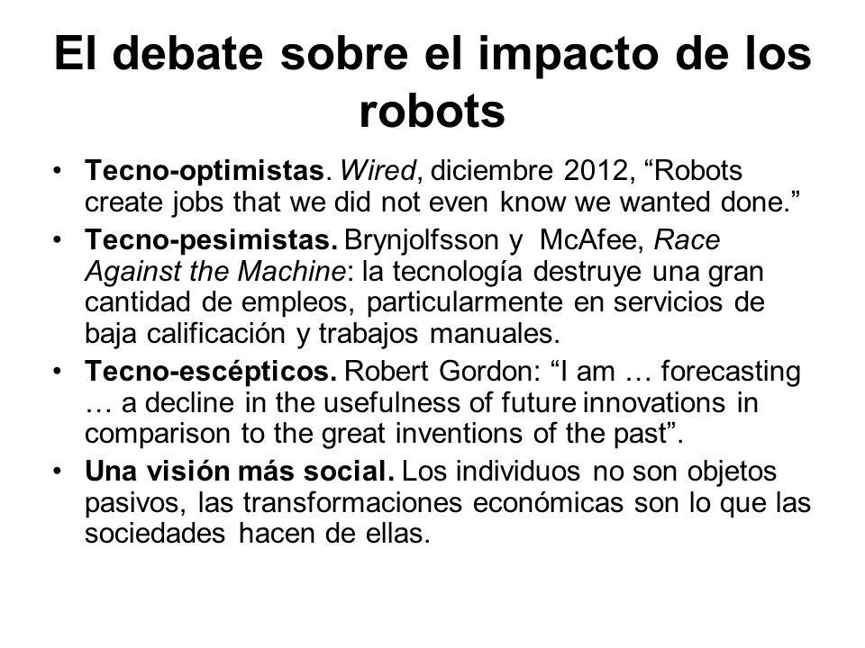El debate sobre el impacto de los robots Tecno-optimistas. Wired, diciembre 2012, Robots create jobs that we did not even know we wanted done. Tecno-p