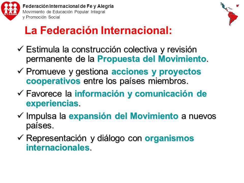 Federación Internacional de Fe y Alegría Movimiento de Educación Popular Integral y Promoción Social La Federación Internacional: Estimula la construc