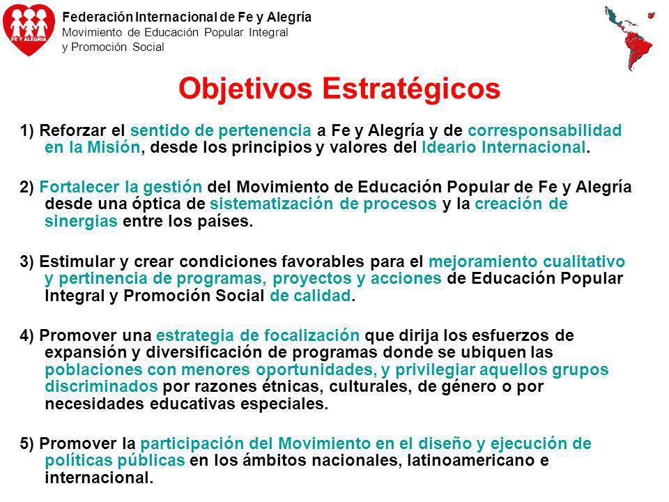 Federación Internacional de Fe y Alegría Movimiento de Educación Popular Integral y Promoción Social Objetivos Estratégicos 1) Reforzar el sentido de