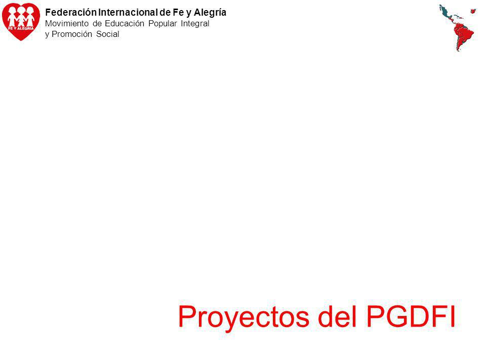 Federación Internacional de Fe y Alegría Movimiento de Educación Popular Integral y Promoción Social Proyectos del PGDFI