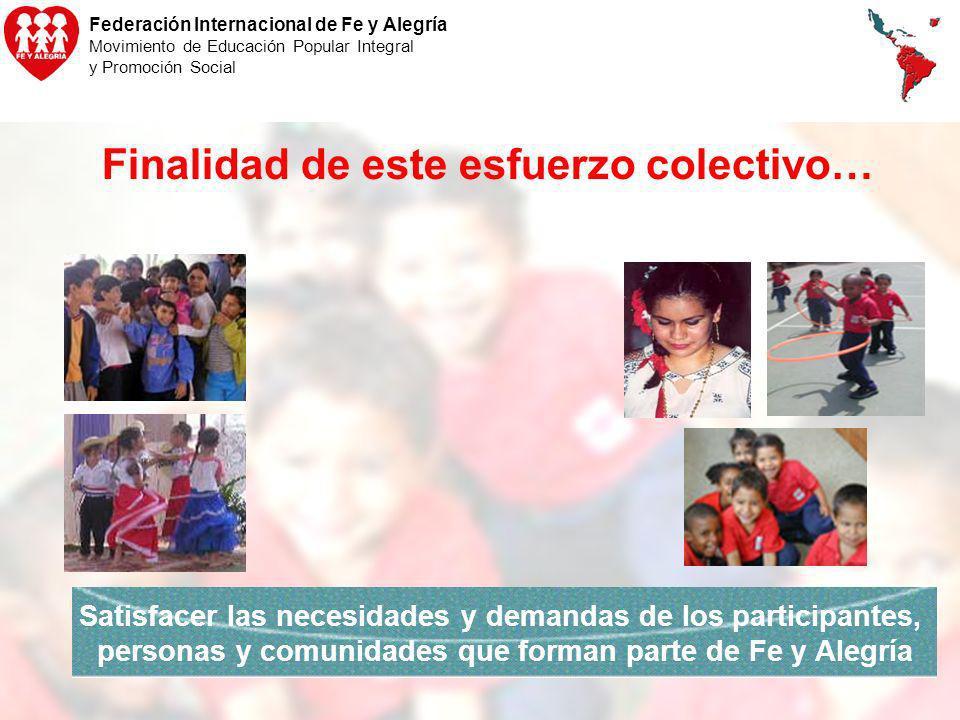 Federación Internacional de Fe y Alegría Movimiento de Educación Popular Integral y Promoción Social Finalidad de este esfuerzo colectivo… Satisfacer