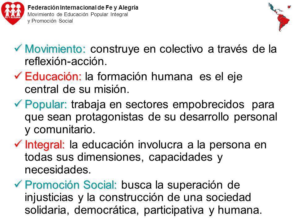 Federación Internacional de Fe y Alegría Movimiento de Educación Popular Integral y Promoción Social Movimiento: Movimiento: construye en colectivo a