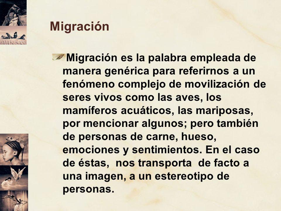 Migración Migración es la palabra empleada de manera genérica para referirnos a un fenómeno complejo de movilización de seres vivos como las aves, los