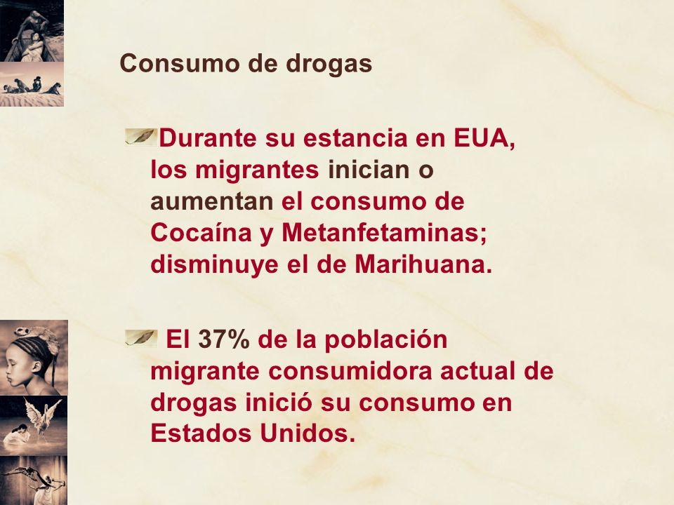 Consumo de drogas Durante su estancia en EUA, los migrantes inician o aumentan el consumo de Cocaína y Metanfetaminas; disminuye el de Marihuana. El 3