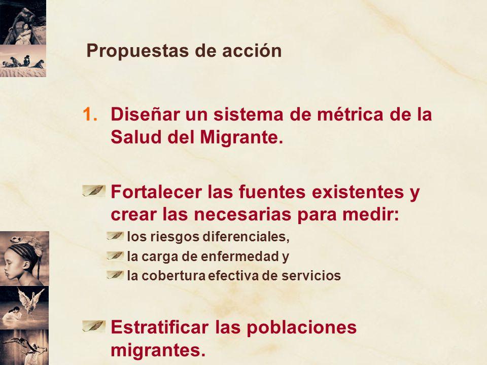 Propuestas de acción 1.Diseñar un sistema de métrica de la Salud del Migrante. Fortalecer las fuentes existentes y crear las necesarias para medir: lo