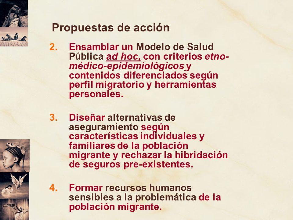Propuestas de acción 2.Ensamblar un Modelo de Salud Pública ad hoc, con criterios etno- médico-epidemiológicos y contenidos diferenciados según perfil