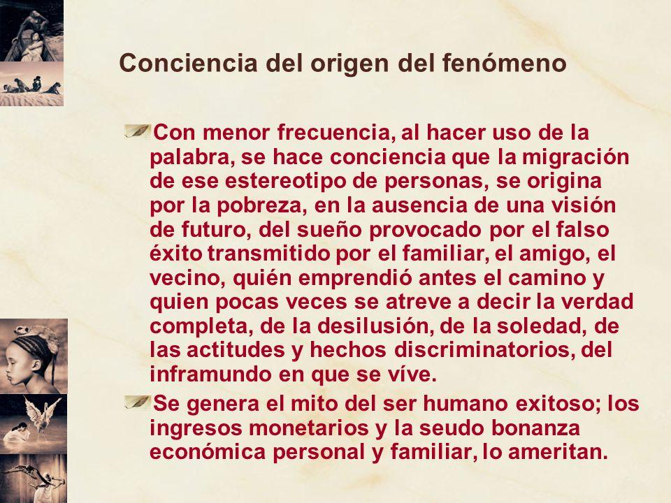 Conciencia del origen del fenómeno Con menor frecuencia, al hacer uso de la palabra, se hace conciencia que la migración de ese estereotipo de persona