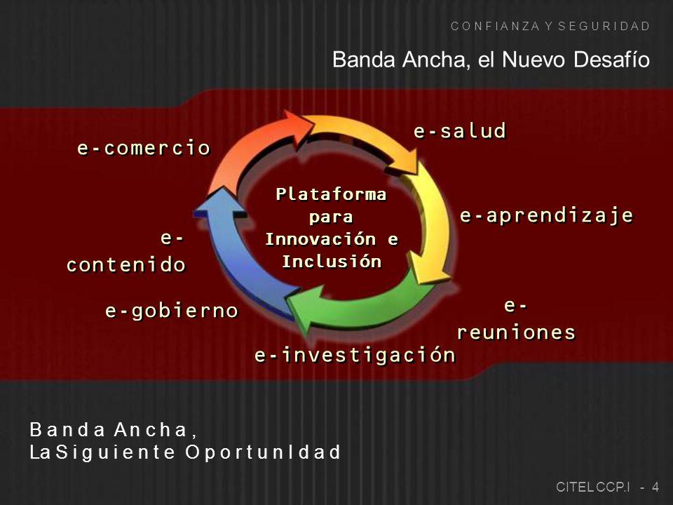 e-salud e-gobierno e-comercio e- contenido e-aprendizaje e-investigación e- reuniones Banda Ancha, el Nuevo Desafío B a n d a A n c h a, La S i g u i e n t e O p o r t u n I d a d C O N F I A N Z A Y S E G U R I D A D Plataforma para Innovación e Inclusión CITEL CCP.I - 4