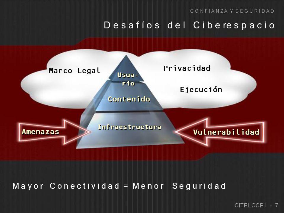 Privacidad Marco Legal Ejecución D e s a f í o s d e l C i b e re s p a c i o C O N F I A N Z A Y S E G U R I D A D M a y o r C o n e c t i v i d a d = M e n o r S e g u r i d a d CITEL CCP.I - 7 Infraestructura Usua- rio Contenido Vulnerabilidad Amenazas