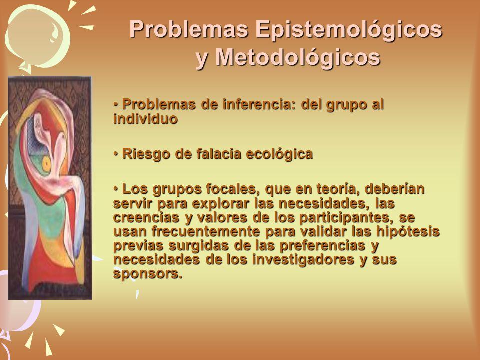 Problemas de inferencia: del grupo al individuo Problemas de inferencia: del grupo al individuo Riesgo de falacia ecológica Riesgo de falacia ecológic
