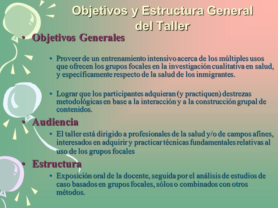 Objetivos y Estructura General del Taller Objetivos GeneralesObjetivos Generales Proveer de un entrenamiento intensivo acerca de los múltiples usos qu