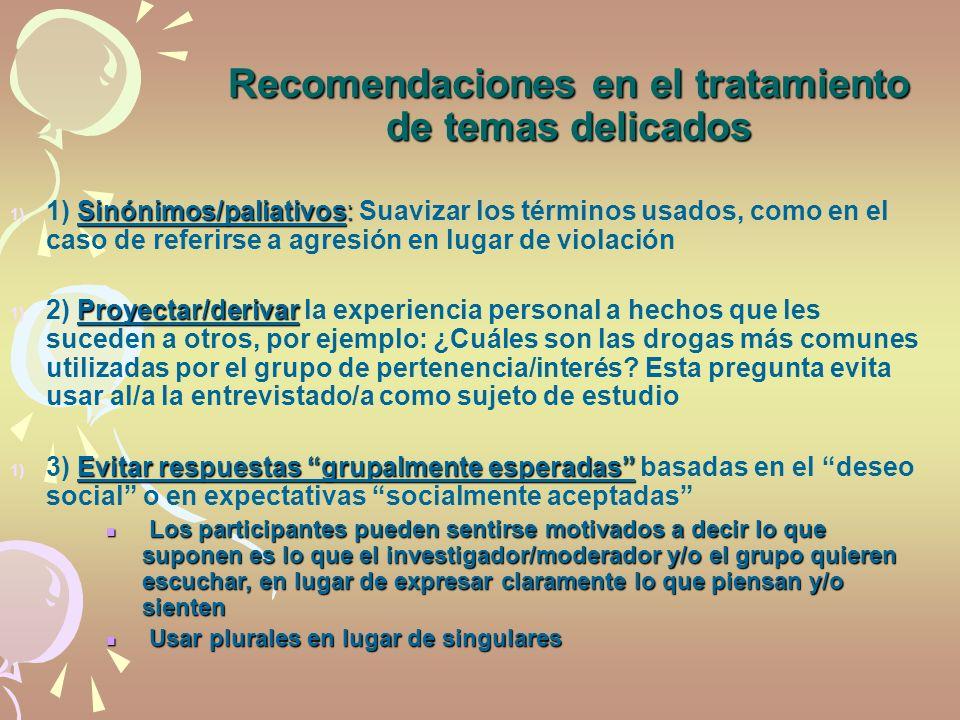 Recomendaciones en el tratamiento de temas delicados Sinónimos/paliativos: 1) 1) Sinónimos/paliativos: Suavizar los términos usados, como en el caso d