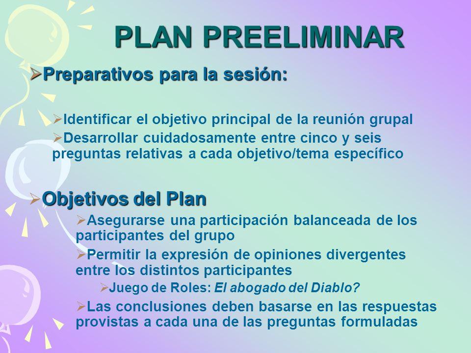 PLAN PREELIMINAR Preparativos para la sesión: Preparativos para la sesión: Identificar el objetivo principal de la reunión grupal Desarrollar cuidados