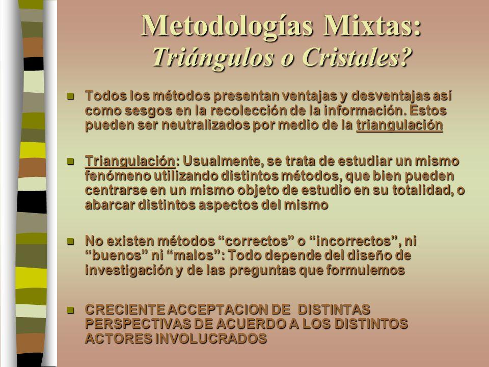 Metodologías Mixtas: Triángulos o Cristales? Todos los métodos presentan ventajas y desventajas así como sesgos en la recolección de la información. E
