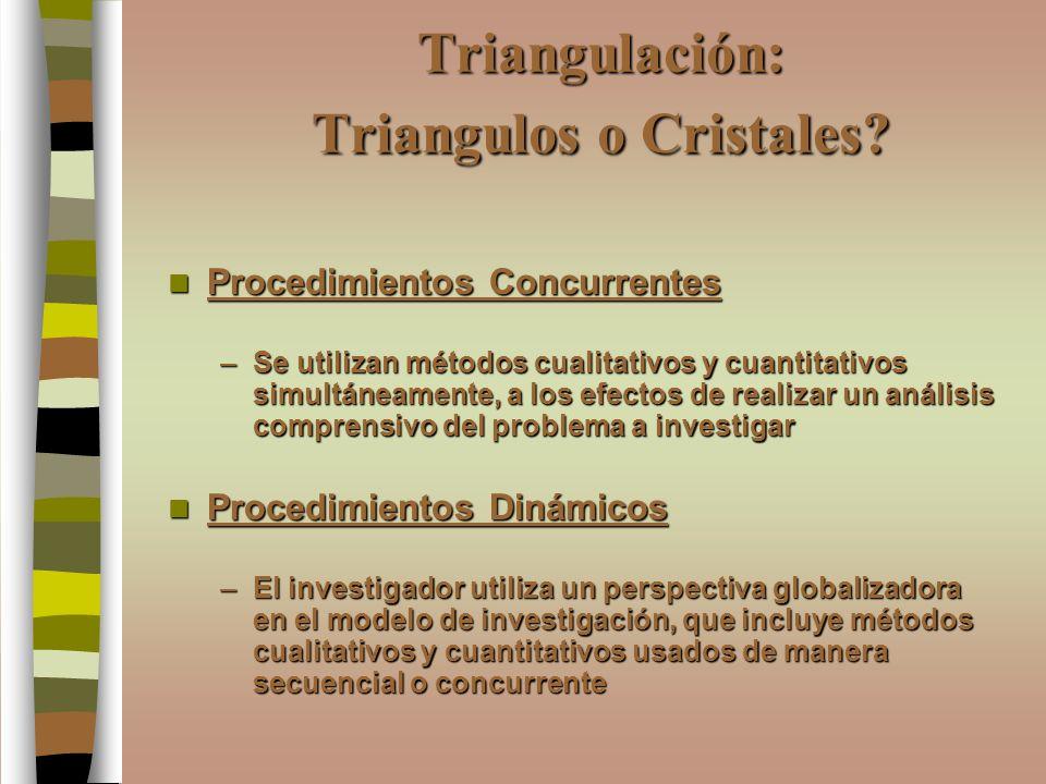 Triangulación: Triangulos o Cristales? Procedimientos Concurrentes Procedimientos Concurrentes –Se utilizan métodos cualitativos y cuantitativos simul