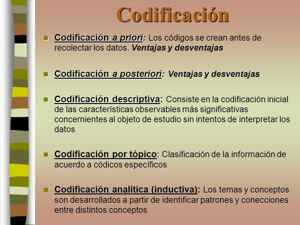 Codificación Codificación a priori: Codificación a priori: Los códigos se crean antes de recolectar los datos. Ventajas y desventajas Codificación a p