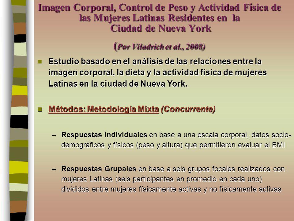 Imagen Corporal, Control de Peso y Actividad Física de las Mujeres Latinas Residentes en la Ciudad de Nueva York ( Por Viladrich et al., 2008) Estudio