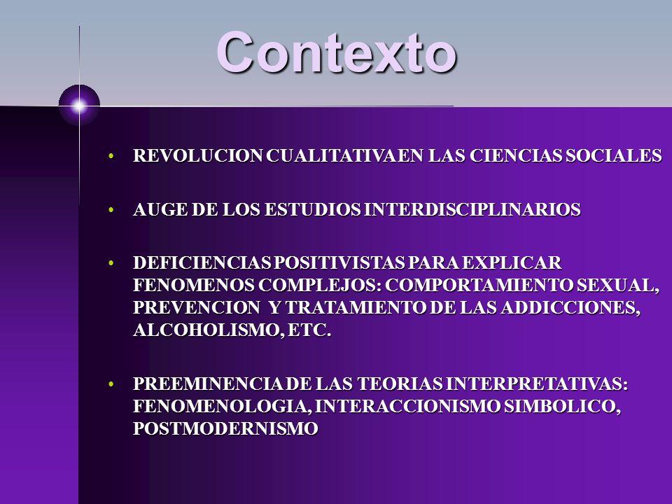 Contexto REVOLUCION CUALITATIVA EN LAS CIENCIAS SOCIALESREVOLUCION CUALITATIVA EN LAS CIENCIAS SOCIALES AUGE DE LOS ESTUDIOS INTERDISCIPLINARIOSAUGE D