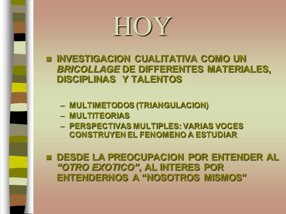 HOY INVESTIGACION CUALITATIVA COMO UN BRICOLLAGE DE DIFFERENTES MATERIALES, DISCIPLINAS Y TALENTOS INVESTIGACION CUALITATIVA COMO UN BRICOLLAGE DE DIF