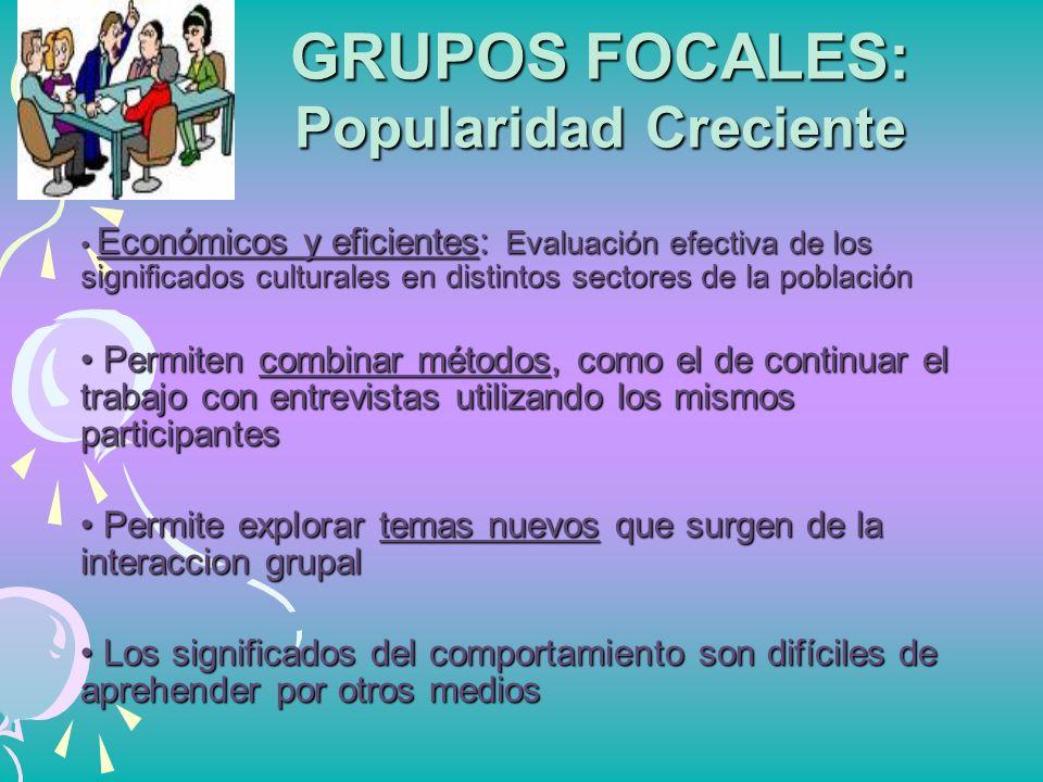 GRUPOS FOCALES: Popularidad Creciente Económicos y eficientes: Evaluación efectiva de los significados culturales en distintos sectores de la població