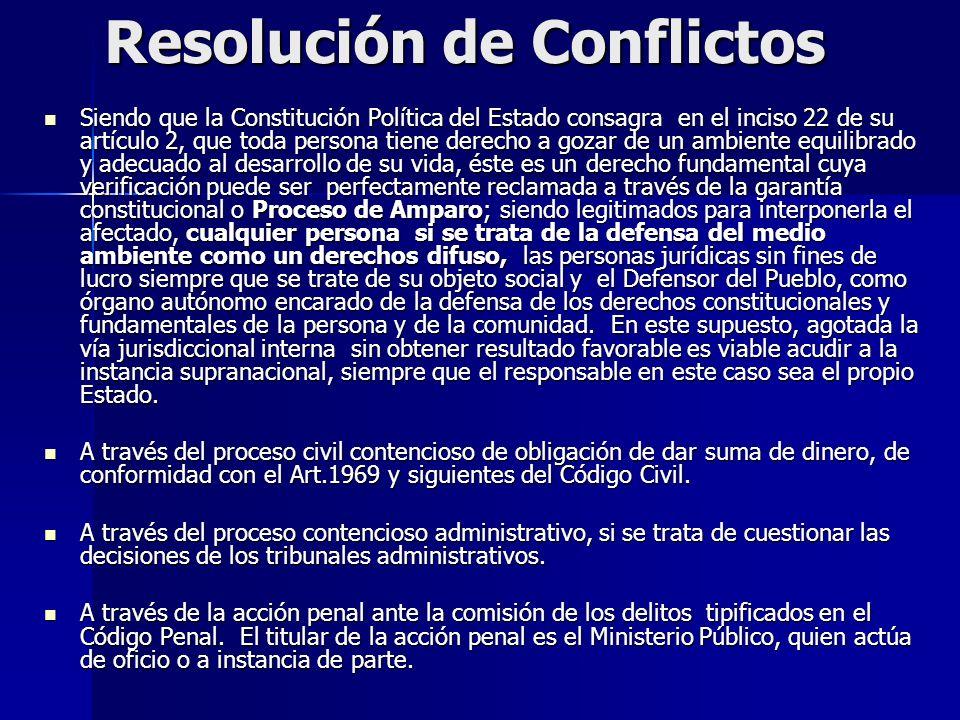 Resolución de Conflictos Siendo que la Constitución Política del Estado consagra en el inciso 22 de su artículo 2, que toda persona tiene derecho a go