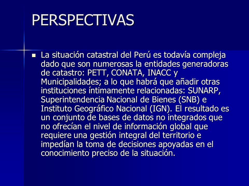 PERSPECTIVAS La situación catastral del Perú es todavía compleja dado que son numerosas la entidades generadoras de catastro: PETT, CONATA, INACC y Mu