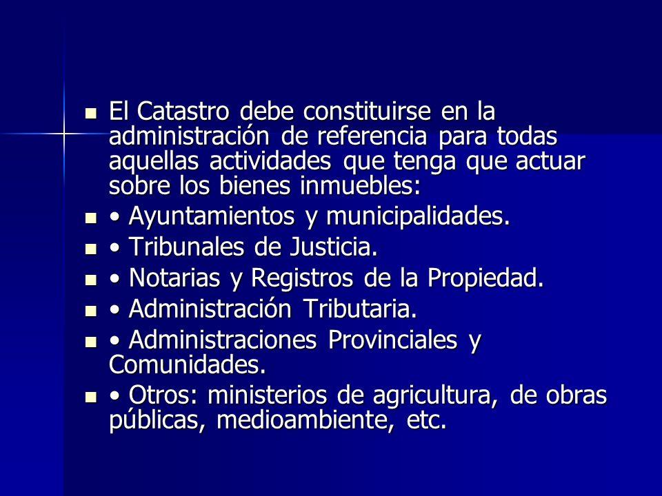 El Catastro debe constituirse en la administración de referencia para todas aquellas actividades que tenga que actuar sobre los bienes inmuebles: El C