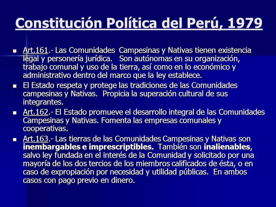 Constitución Política del Perú, 1993 La Constitución Política del Perú que hoy rige, en el Artículo 89° regula el régimen de las Comunidades Campesinas y Nativas, señalando que éstas tienen existencia legal como personas jurídicas.