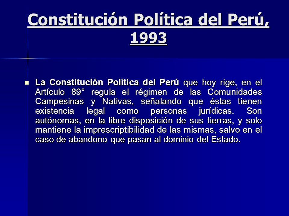 Constitución Política del Perú, 1993 La Constitución Política del Perú que hoy rige, en el Artículo 89° regula el régimen de las Comunidades Campesina