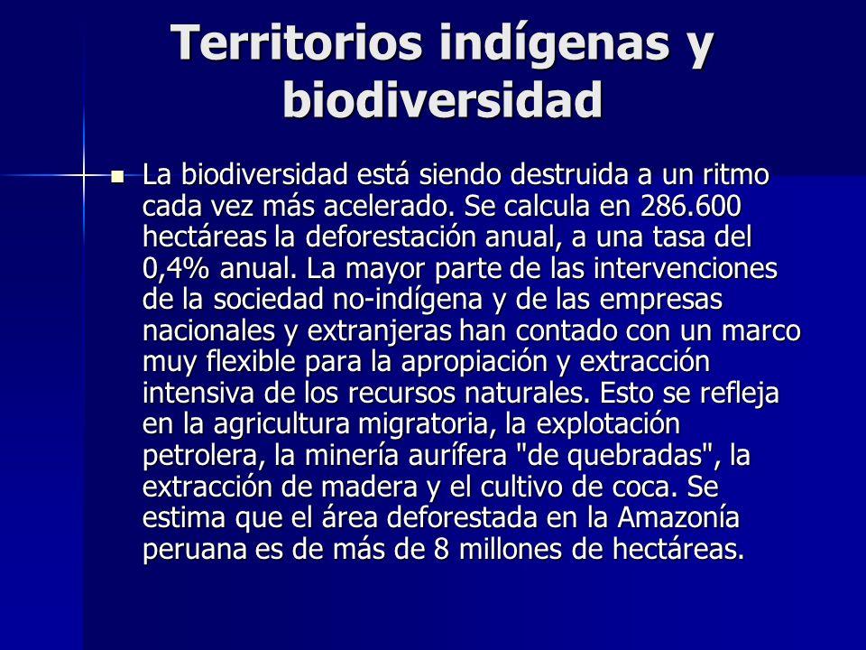 Territorios indígenas y biodiversidad La biodiversidad está siendo destruida a un ritmo cada vez más acelerado. Se calcula en 286.600 hectáreas la def