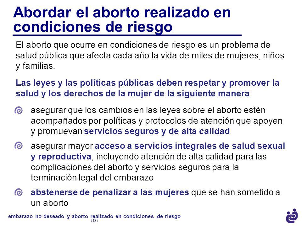 Abordar el aborto realizado en condiciones de riesgo El aborto que ocurre en condiciones de riesgo es un problema de salud pública que afecta cada año
