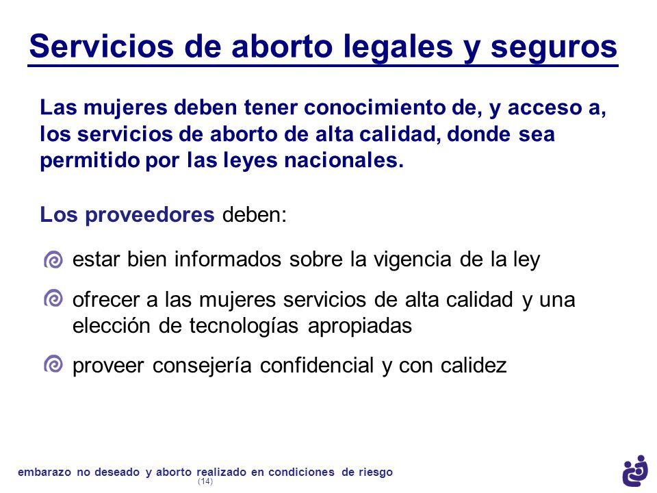 Servicios de aborto legales y seguros Las mujeres deben tener conocimiento de, y acceso a, los servicios de aborto de alta calidad, donde sea permitid