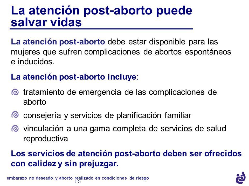 La atención post-aborto puede salvar vidas La atención post-aborto incluye: tratamiento de emergencia de las complicaciones de aborto consejería y ser