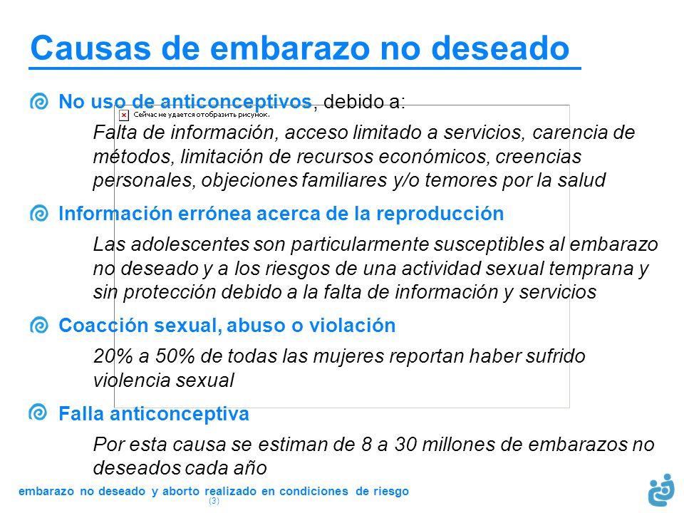 embarazo no deseado y aborto realizado en condiciones de riesgo (3) No uso de anticonceptivos, debido a: Falta de información, acceso limitado a servi